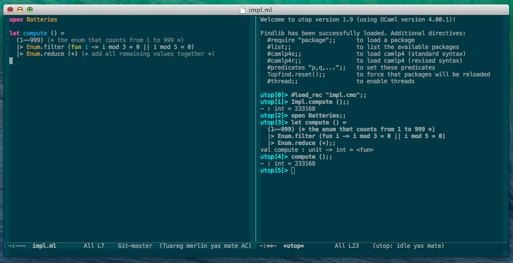 Using Utop in Emacs
